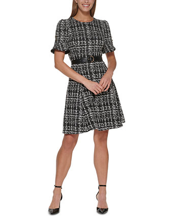 Платье с оборками на рукавах и поясом DKNY