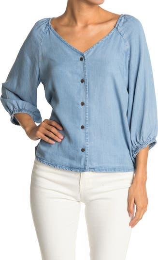 Блуза из шамбре с рукавами реглан Workshop