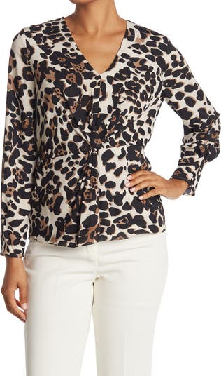 Блуза с леопардовым принтом спереди Donna Karan