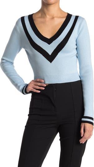 Укороченный свитер с V-образным вырезом в полоску с шевронами Lucy Paris