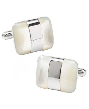 Мужские серебряные запонки с перламутром Ox & Bull Trading Co.