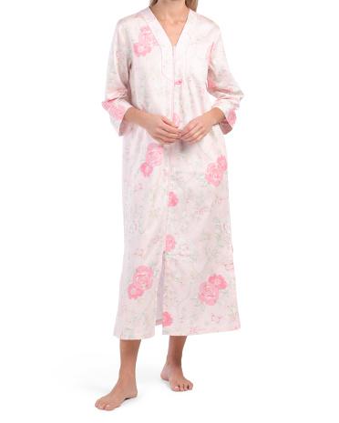 Атласный халат с длинными рукавами и длинным рукавом с цветочным рисунком Miss Elaine