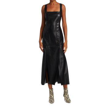 Платье миди без рукавов Allie из веганской кожи Nanushka