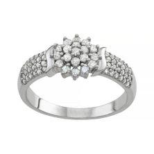 Стерлинговое серебро 1/2 карата T.W. Кольцо с бриллиантами Tiara