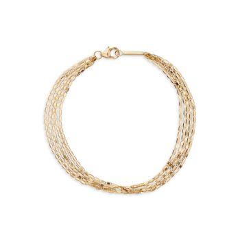 Браслет Mailibu из желтого золота 585 пробы с 5 цепочками Lana Jewelry