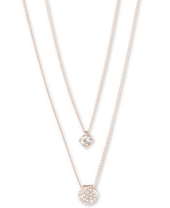 Регулируемое двухрядное ожерелье с подвеской Scattered Crystal, удлинитель 16 + 3 дюйма Givenchy