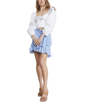 Mini Ditsy Wrap-Style Skirt Bardot