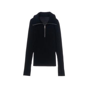 Пуловер в рубчик с молнией до четверти Helmut Lang