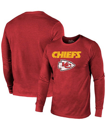 Kansas City Chiefs Lockup Tri-Blend Long Sleeve T-shirt - Red Majestic