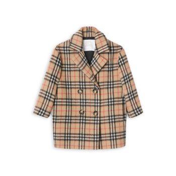 Маленькая девочка & amp; Пальто в клетку в винтажную клетку с маком для девочек Burberry