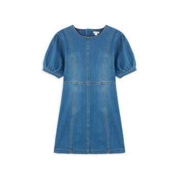 Girl's Denim Puff Sleeve A-Line Dress Habitual