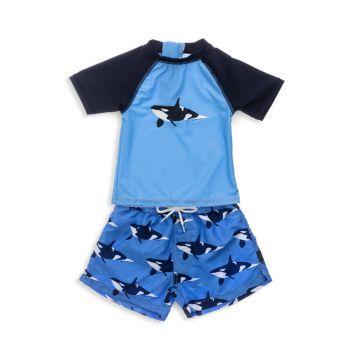 Из двух частей Orca Ocean с короткими рукавами и короткими рукавами для маленьких мальчиков; Комплект шорт Snapper Rock