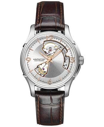 Мужские швейцарские автоматические часы Jazzmaster Open Heart с коричневым кожаным ремешком из теленка 40 мм H32565555 Hamilton
