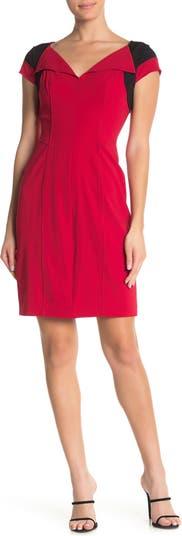 Платье с V-образным вырезом и короткими рукавами с цветными блоками SHANI