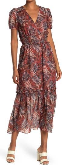 Рубиновое платье с короткими рукавами и цветочным принтом NSR