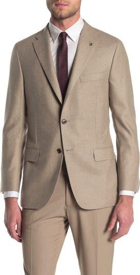 Светло-коричневый однотонный классический костюм B с двумя пуговицами и лацканами с вырезом отделяет жакет Hickey Freeman