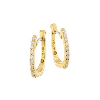 Желтое золото 18 карат & amp; Серьги-кольца Diamond Pavé Huggie Roberto Coin