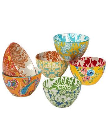 Дамасский цветочный набор из 6 универсальных чаш Certified International