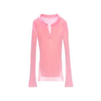 Рубчатая рубашка-поло с расклешенными рукавами Helmut Lang
