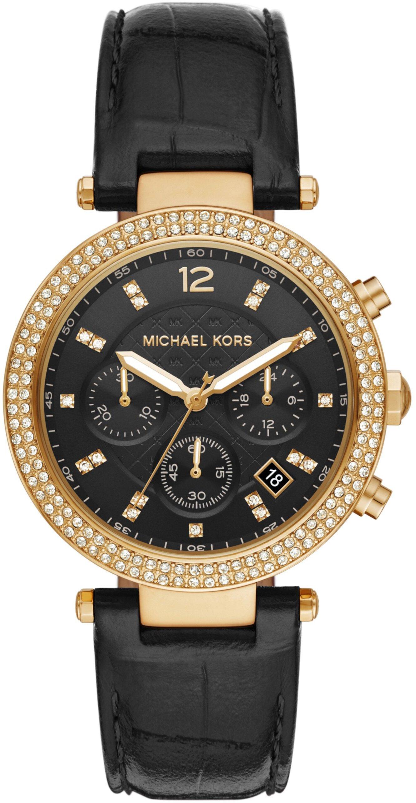 MK6984 - Кожаные часы Parker с хронографом Michael Kors