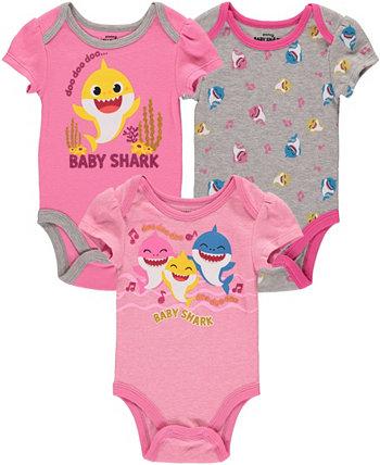 Комплект боди Baby Shark для новорожденных девочек, 3 шт. HAPPY THREADS
