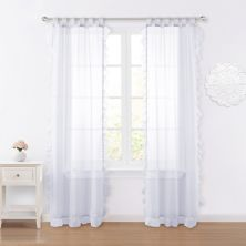 VCNY Home Amber Sheer Ruffle Back Tab Window Curtain Set VCNY HOME