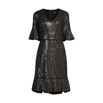 Платье с V-образным вырезом и пайетками SHANI