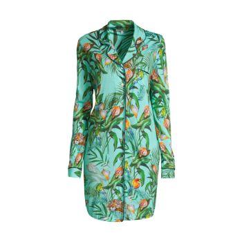 Taina Tropical-Print Sleep Shirt Johnny Was