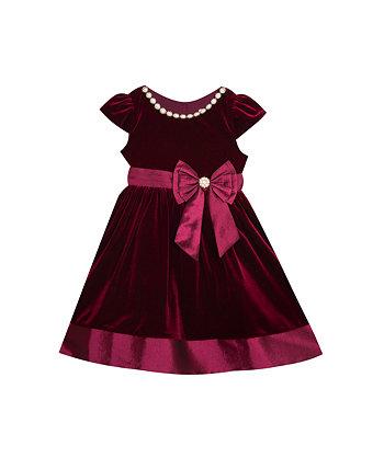 Платье для маленьких девочек из эластичного бархата с расклешенным рисунком, поясом из эластичной тафты и бантом Rare Editions