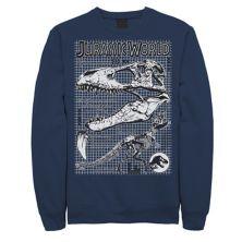 Мужской флисовый пуловер из мира юрского периода с двумя костями ти-рекса, схемой, графическим рисунком Jurassic World