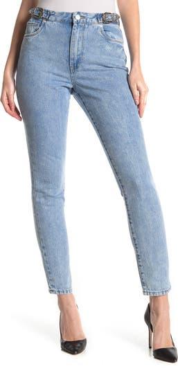 High Rise Buckle Straight Leg Jean BLANKNYC