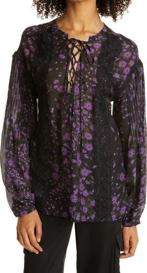 Шелковая блуза с цветочным принтом на шнуровке Haute Hippie