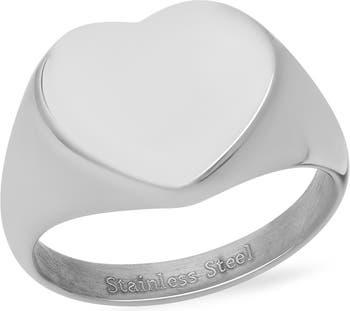 Кольцо-печатка в форме сердца из нержавеющей стали HMY Jewelry