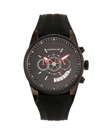Кварц M72 Series, MPH7205, Черный Хронограф, Силиконовые Часы 43MM Morphic