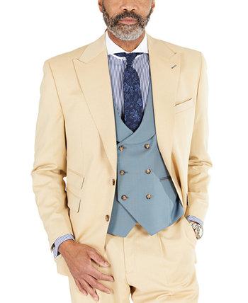 Мужской однотонный светло-коричневый костюм классического кроя отделяет куртку Tayion Collection