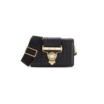 Кожаная трансформируемая сумка через плечо с тиснением под крокодиловую кожу Versace Jeans Couture