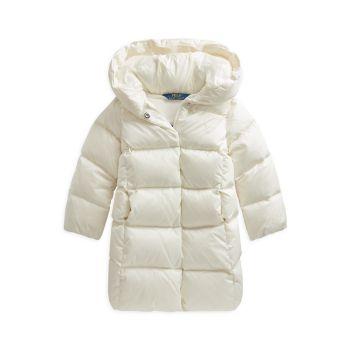 Маленькая девочка & amp; Длинное пальто из водоотталкивающего стеганого пуха для девочек Ralph Lauren