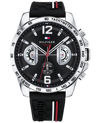 Мужские черные часы с силиконовым ремешком 46 мм, созданные для Macy's Tommy Hilfiger