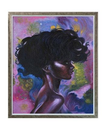 """Репродукция африканской девушки с изображением силуэта шампанского в рамке, 22,4 """"x 26,4"""" La Pastiche"""