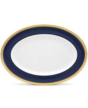 Блюдо одесское кобальтово-золотое овальное, 16 дюймов Noritake