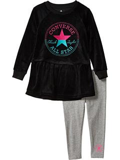 Велюровое платье с баской и леггинсы Ombré Chuck Patch (маленькие дети) Converse Kids