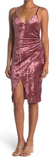 V-Neck Sleeveless Crushed Velvet Midi Dress Vanity Room