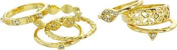Винтажные кольца с паве с кристаллами - набор из 7 - размер 8 Panacea