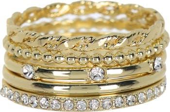 Текстурированное кольцо Stack с покрытием из 14-каратного золота - набор из 5 шт. Covet