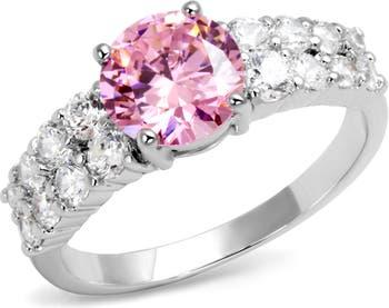 Розово-белое обручальное кольцо CZ Covet