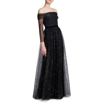 Бальное платье с открытыми плечами и блестками Marchesa