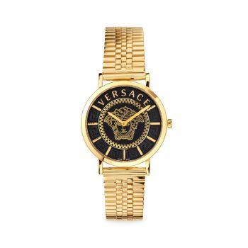 Часы V Essential из нержавеющей стали с золотым браслетом Versace