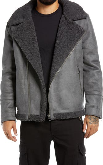 Logan Faux Shearling Biker Jacket TOPMAN