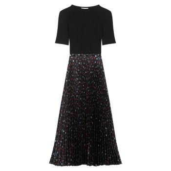 Платье миди из смешанных материалов Riplita Maje