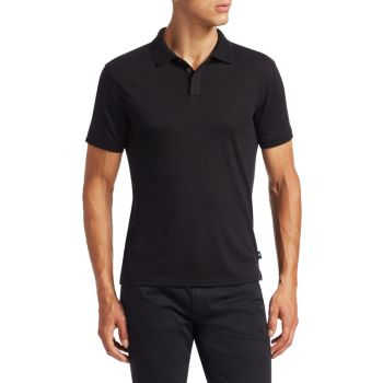 Облегающая рубашка-поло с фактурным воротником Emporio Armani